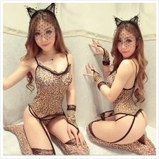 Leopard Teddies Galter Belt Handcuff Lingerie Sleepwear Set