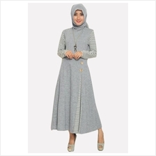 Fashion Classic Side Pleated Modern Jubah Dress With Wooden Button efcabbe3dc
