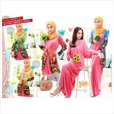 Fashion Two-Piece Floral Cardigan Jubah Dress (Including Shawl)