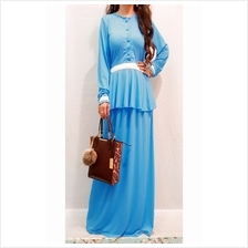 Fashion Two-Piece Modern Jubah Dress With Button Peplum Top & Skirt
