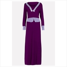 Fashion Two-Piece Joint Lace Design Jubah Dress (Including Shawl)