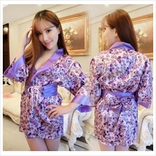 da80098fbd Purple Ice Silk Ribbon Japanese Kimono Robes + G-string Sleepwear