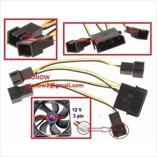 4pin Molex Male to 4x 12V 3pin Male Computer Case Fan Power Splitter