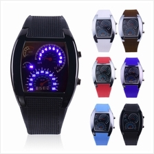 Mens Sports RPM Turbo Blue Flash LED Sports Car Meter Dial Watch Wrist..