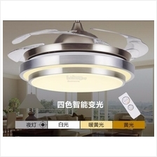 36 42 inch  Retractable Ceiling Fan w 4 colors LED light and Remote