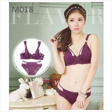 M018 Purple Sexy Bra Set with Lace Panties No Sponge