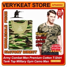 Army Combat Men Premium Cotton T-Shirt Tank Top Military Gym Camo Man