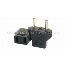 Flat to Round Power Plug Adapter American to European Converter New