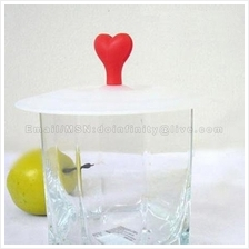 Cute Heart Love Magic Silicone Airtight Cup Lid Cover Cap Spoon Holder