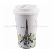 Paris Eiffel Double Wall Coffee Mug Silicone Lid I Am Not A Paper Cup