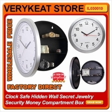 Clock Safe Hidden Wall Secret Jewelry Security Money Compartment Box