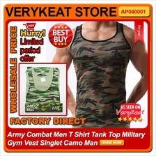Army Combat Men Tank Top Slim N Lift Gym Wear Fitness Vest Singlet Man