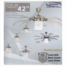 ELMARK 42 come with K9 Black Crystal Lamp Shade Remote Ceiling Fan with Light