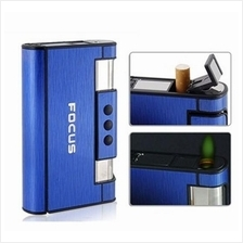 Ultra Thin Cigarette Case Box with built in Butane Flame Lighter