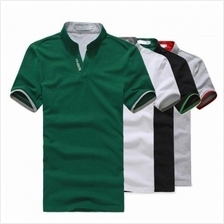MT058128 Korean Men 's Stand-up Collar Slim Fit Short-sleeved Polo T-shir