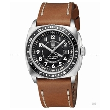 LUMINOX 9427 P-38 Lightning GMT black brown leather strap