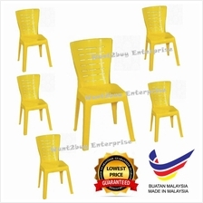 6 UNITS YELLOW X3V High Strong Quality Plastic Chair(Made In Malaysia)
