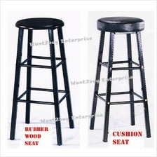 Rubberwood Cushion Seat Bar High Lab Stool Bangku Makmal (Heavy Duty)