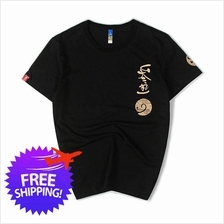 Japanese Design Men Short Sleeve Round Neck Graphic Printing T-Shirt