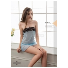 Tube Wrapped Ches Babydoll Dress + G-string Lingerie Sleepwear (2 colo