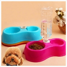 CHEAPER!!!!Double Bowl Feeder Dog Cat Drinking Automatic