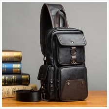 Men Premium Quality PU Leather Sling Bag 6 (Black)