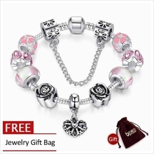 BAMOER 925S Silver Charm Bracelet with Pink Heart&Roses Safety PA1452
