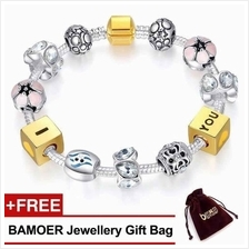 BAMOER 925S Silver Charm Bracelet Flower & I LOVE YOU Bead PA1443