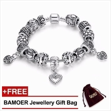 BAMOER 925S Silver Charm Bracelet With Antique Heart Pendant PA1431