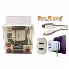 SUN GLOBAL charger ADAPTER DUAL PORT 2.4A iPhone / android / type-C