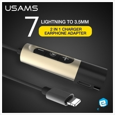 USAMS Lightning to 3.5mm Jack 2 in 1 Charger Earphone Adapter For iPhone7
