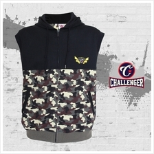 CHALLENGER BIG SIZE Military Hooded Sleeveless Sweater CH7008 (Military Print)