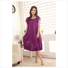 Ice Silk Plus Size Pyjamas Sleepwear Dress L7070 (4 Colours)