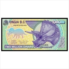 Beringia B.C 2012 Two Million 2000000 Dinars Dinosaurs UNC