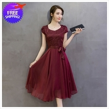 Elegant Western Design Women Lady Mid-Calf Formal Dinner Dress