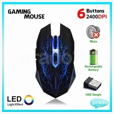 PRADO Rechargeable Wireless Mute Gaming Mouse 6 Button LED MZ-16