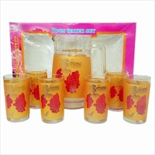 JIMART WATER JUG AND CUP GLASS SET 7 PCS GOLD WITH GRAPE