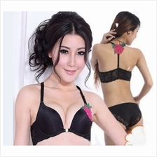 04106 Korean Style Embroidery Lace Push Up Bra Set