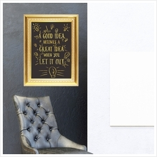 GOLD FRAME STICKER GREAT IDEA QUOTE