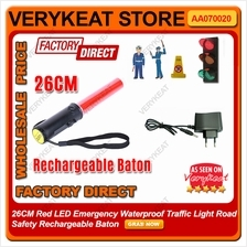 26CM Red LED Emergency Waterproof Traffic Light Rechargeable Baton