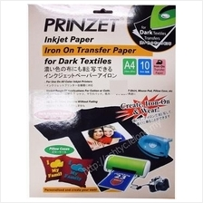 PRINZET A4 IRON ON TRANSFER PAPER FOR DARK TEXTILES (10 SHEETS)