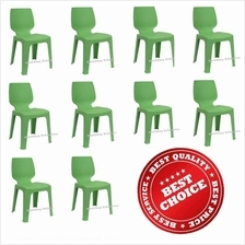 10 X High Quality Strong OPTIMUS D Plastic Study Chair (Green Color)