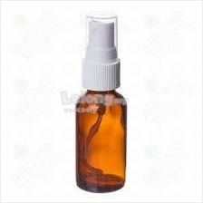 30ml Amber Bottle with White Spray & Plastic Cap - 50 bottles per set