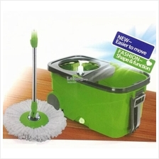 Easy Spin Microfiber Mop with Wheels & Stainless Steel Basket (Green)