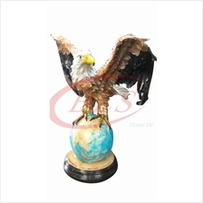POLYRESIN H 63 CM FLYING EAGLE STANDING ON EARTH HOME DECORATION GIFT