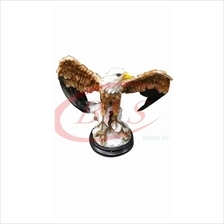 POLYRESIN H 37 CM FLYING STANDING EAGLE ON SNOW HOME DECORATION GIFT