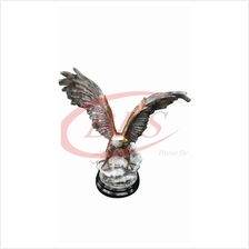 POLYRESIN H 55 CM FLYING STANDING EAGLE ON SNOW HOME DECORATION GIFT
