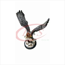 POLYRESIN H 66 CM FLYING STANDING EAGLE ON SNOW HOME DECORATION GIFT