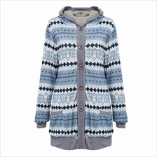 CHIC HOODED LONG SLEEVE TRIBAL PRINT