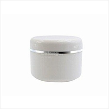 <50 pieces>50 gram White Plastic Cream Jars with Silver rim white caps